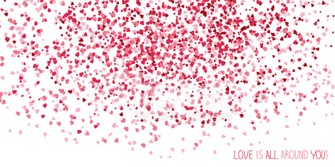 'Love is all around you!' postcard. Copy space for text.