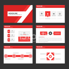 red Multipurpose Infographic elements presentation template flat design set
