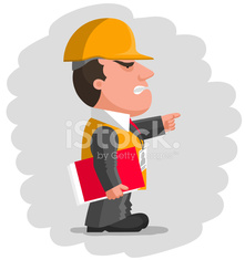 Angry boss with protective helmet and with red folder