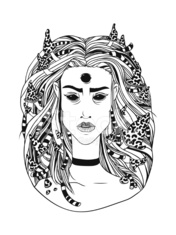 Hand drawn illustration young forest witch, black contour