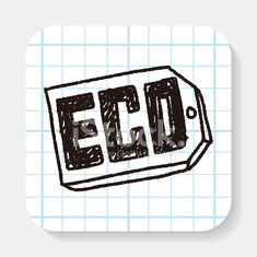 Environmental protection concept; ECO tag; doodle
