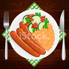 PLATE SAUSAGES SALAD STEW BEAN WOODEN TABLE
