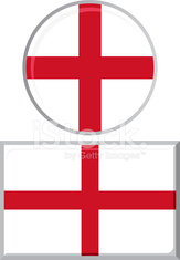 English round and square icon flag. Vector illustration