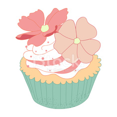 Cupcake decorated with Cosmos flowers