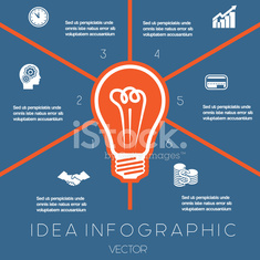 Light bulb infographics template six positions