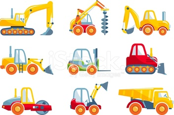 Set of toys heavy construction machines in a flat style.