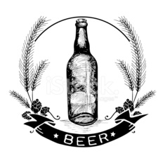 Hand drawn beer label and badge with text