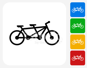 Two Seater Bicycle Icon Flat Graphic Design
