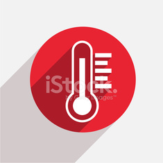 Vector modern thermometer red circle icon