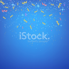 Abstract blue background with streamers and confetti. Vector