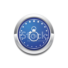 Stop Watch Blue Vector Icon Button
