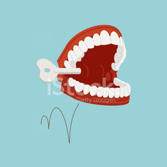 Jumping chattering teeth illustration