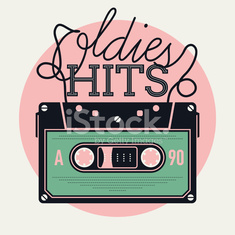 Oldies Hits round vector background