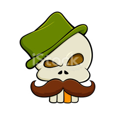 Skull With Moustache And a Green Hat