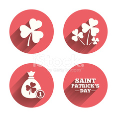 Saint Patrick day icons. Money bag with coin