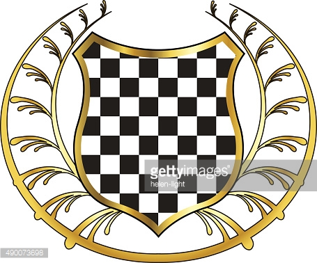 Gold laurel wreath and checkered shield frame on white background
