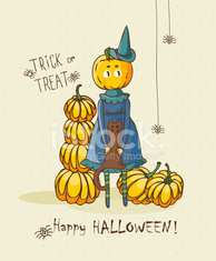 Happy Halloween vector invitation card with witch