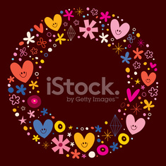 cute hearts and flowers circle frame design element