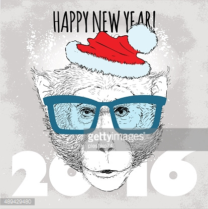 Macaque monkey Hipster with blue glasses and Christmas hat.