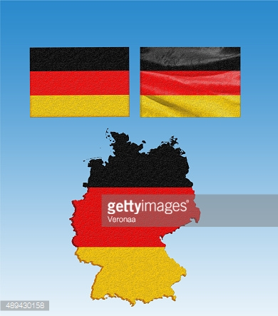 Germany map with flags
