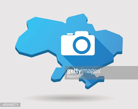 Ukraine green map icon with a photo camera