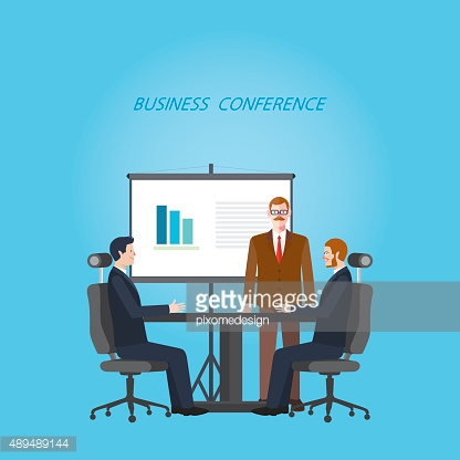Minimal flat character of business conference concept illustrations
