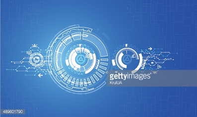 Abstract technical pattern with a blue background