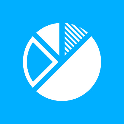 Pie Chart icon on a blue background. - Smooth Series