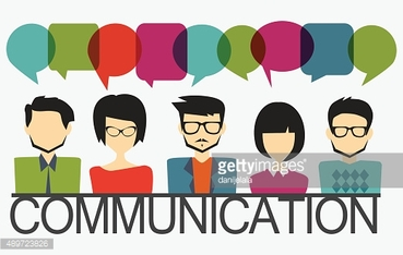 people icons with speech bubbles, communication concept