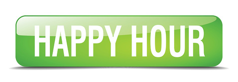 happy hour green square 3d realistic isolated web button