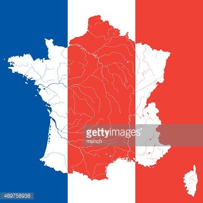 Map of France with rivers on the French flag.