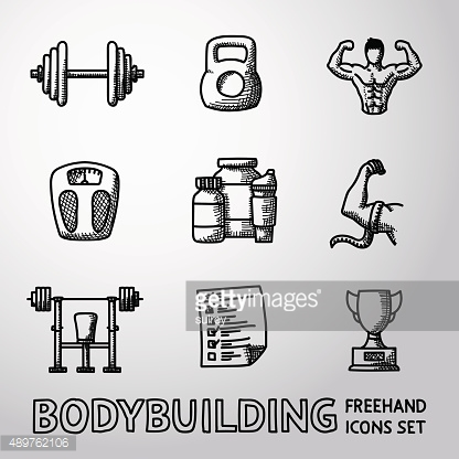 Set of Bodybuilding freehand icons with - dumbbell, weight, bodybuilder