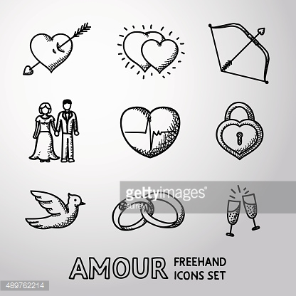 Set of handdrawn Love, Amour icons  - heart with arrow