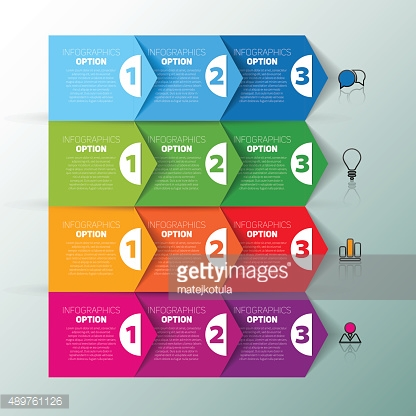 One two three, Set of three version, infographics vector