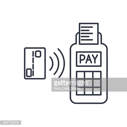 Card paying wirelessly over POS terminal. Vector outline icon.