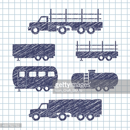 Set of transport icons on copybook paper. Vector illustration