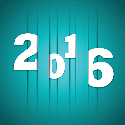 2016 Happy new year cutted lines in paper
