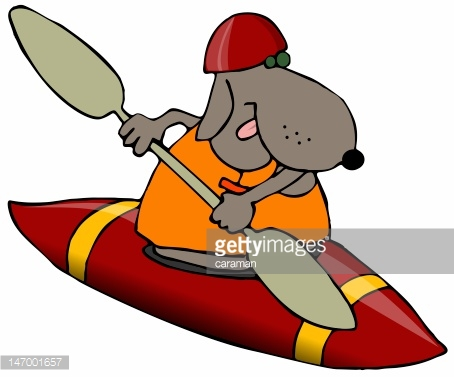 Dog In A Red Kayak