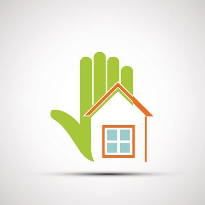 Logo of the human hand and at home.