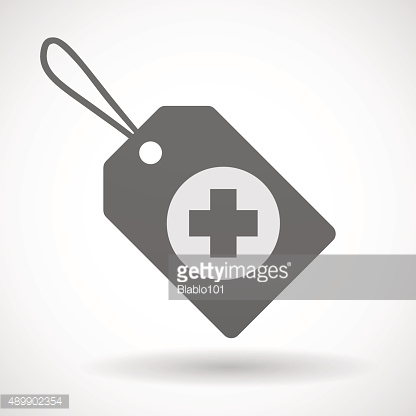 Shopping label icon with a pharmacy sign