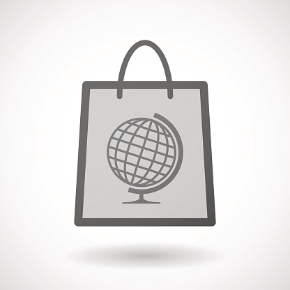 Shopping bag icon with a world globe