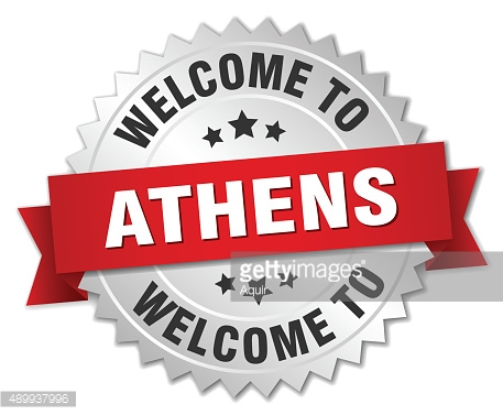 Athens 3d silver badge with red ribbon