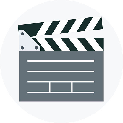 Video, clapper board flat style, colorful, vector icon for info