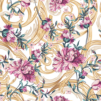 decorative flowers  with barocco seamless pattern