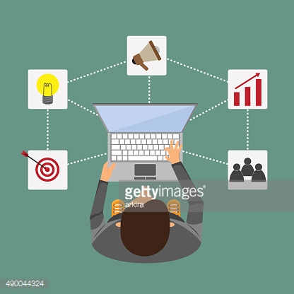 Abstract business. businessman working with laptop that have bus
