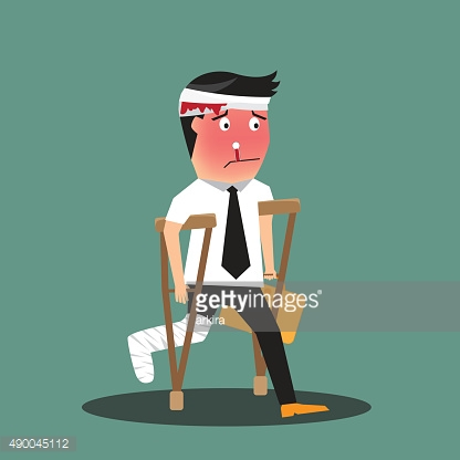 illustration of a badly injured businessman walking on crutches