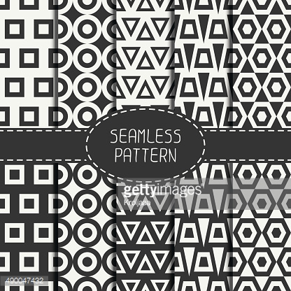 Set of line polygon abstract hipster seamless pattern. Geometric figures.