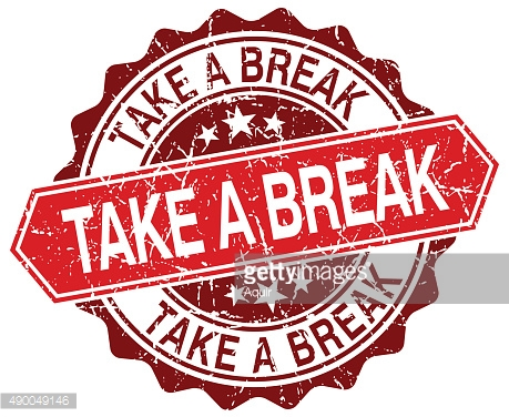 take a break red round grunge stamp on white