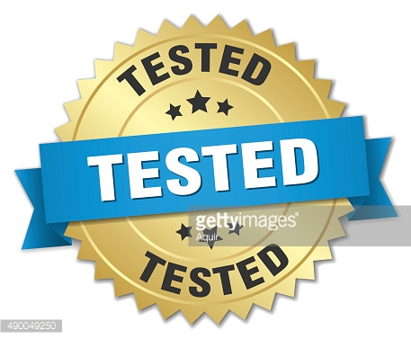 tested 3d gold badge with blue ribbon