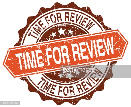 time for review orange round grunge stamp on white